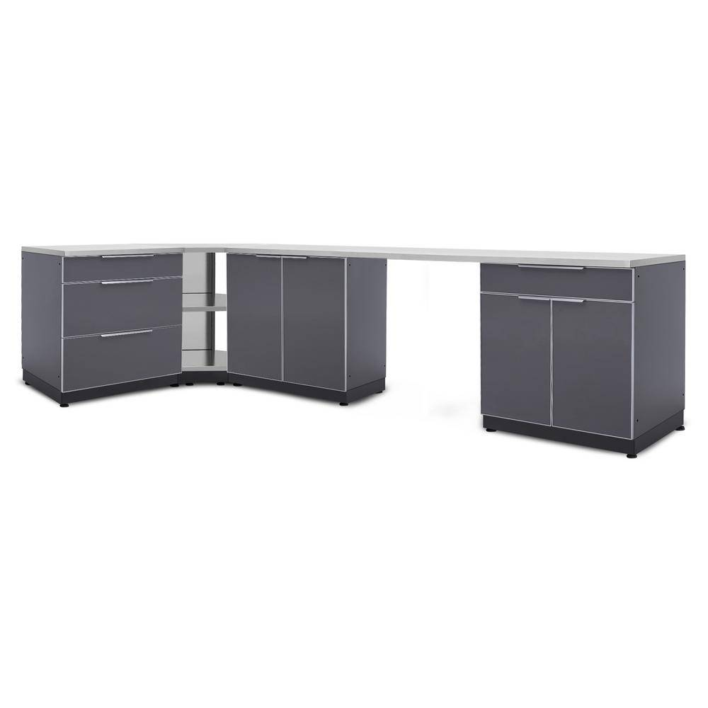 NewAge Products Slate Gray 6-Piece 112 in. W x 36.5 in. H x 24 in. D Outdoor Kitchen Cabinet Set