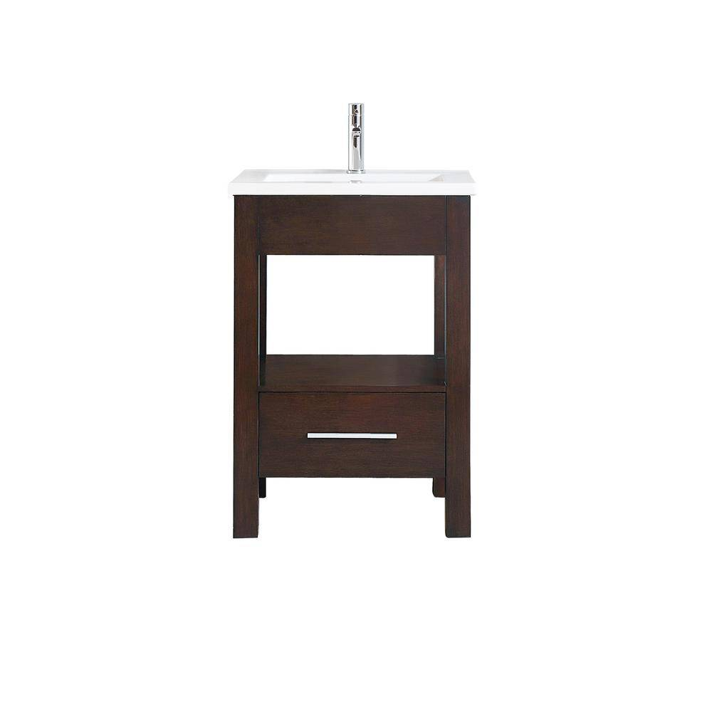 Azzuri Cityloft 25 in. W x 22 in. D x 35 in. H Vanity in Light Espresso with Integrated Vitreous China Vanity Top in White