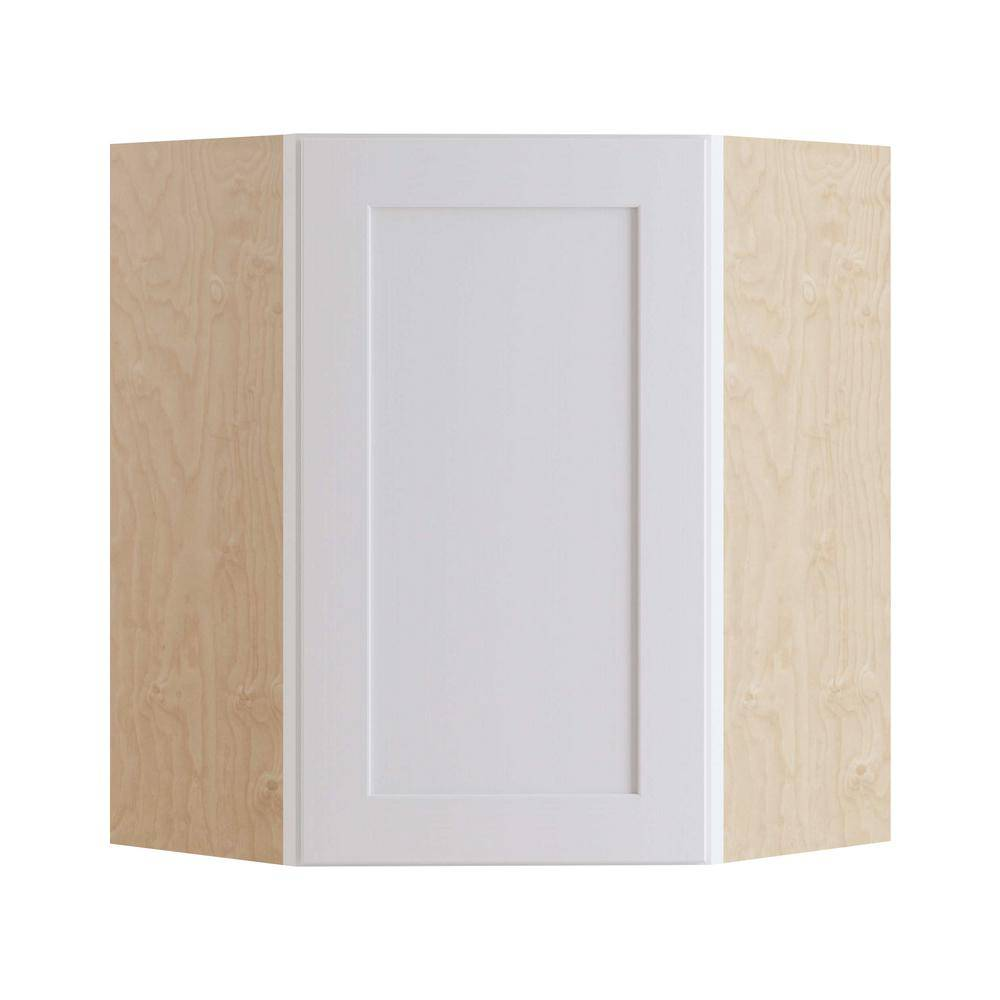 Home Decorators Collection Newport Assembled 24x30x12 in. Plywood Shaker Wall Angle Corner Kitchen Cabinet Soft Close Left in Painted Pacific White, Pacific White Painted
