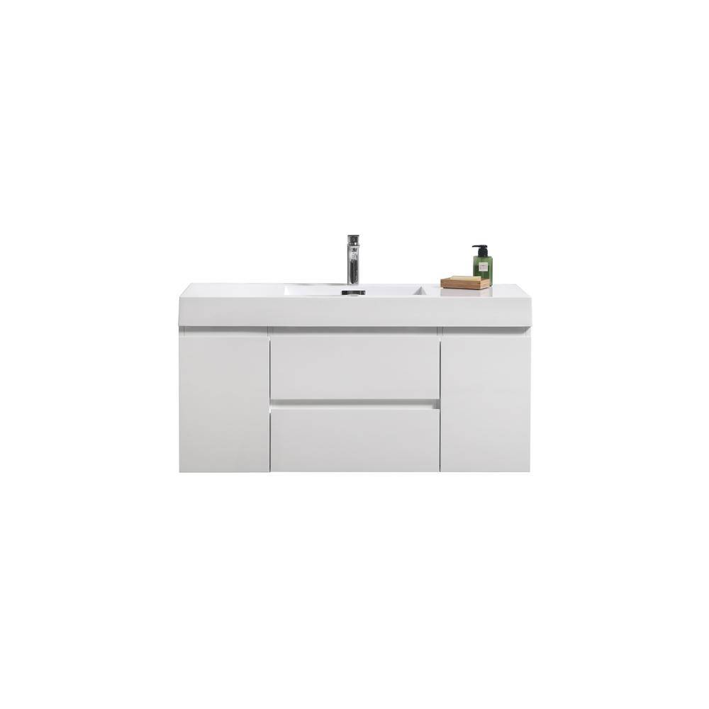 Bathroom Vanities Wholesale Fortune 48 in. W Bath Vanity in High Gloss White with Reinforced Acrylic Vanity Top in White with White Basin