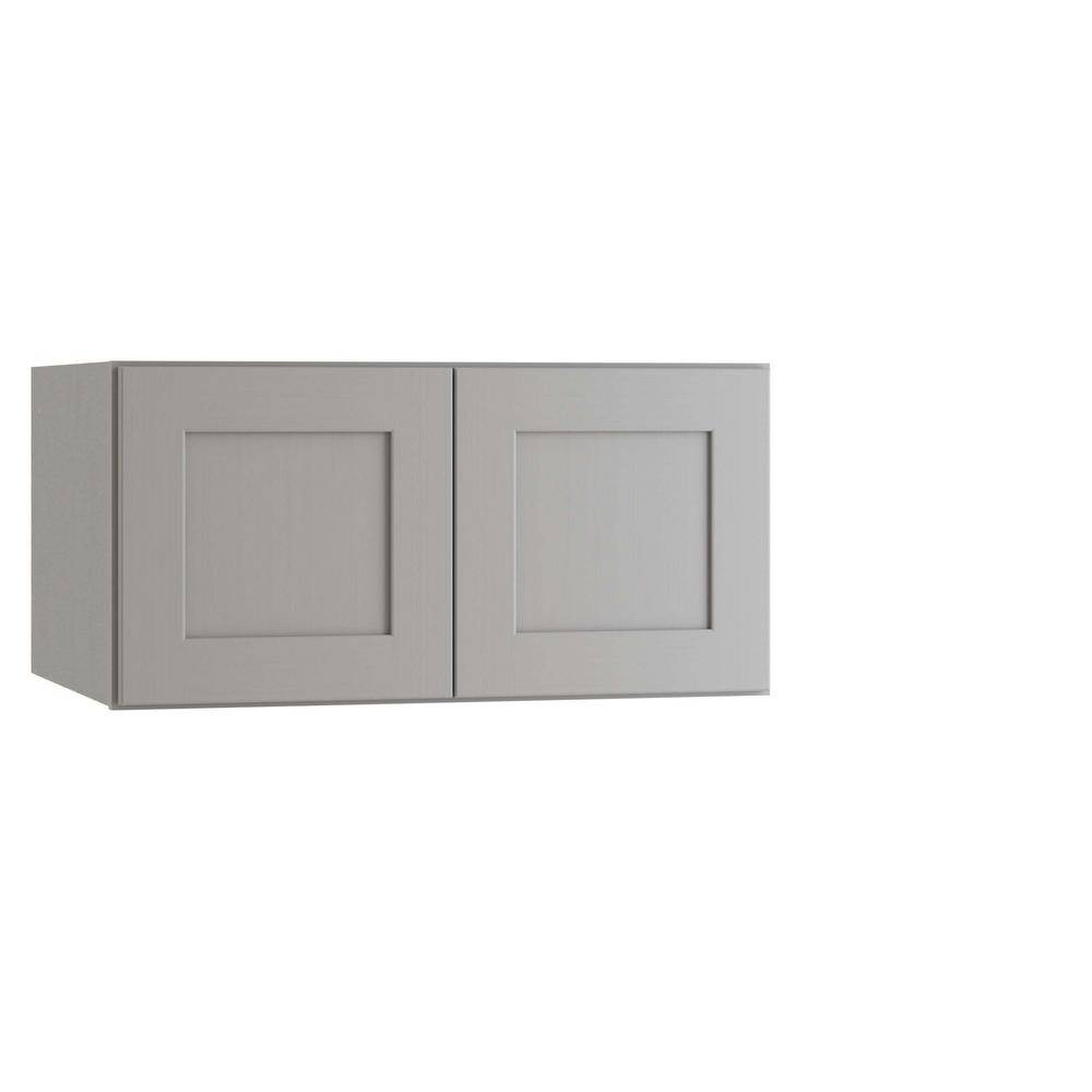 Home Decorators Collection Tremont Assembled 36 x 15 x 24 in. Plywood Shaker Deep Wall Kitchen Cabinet Soft Close in Painted Pearl Gray, Gray Painted