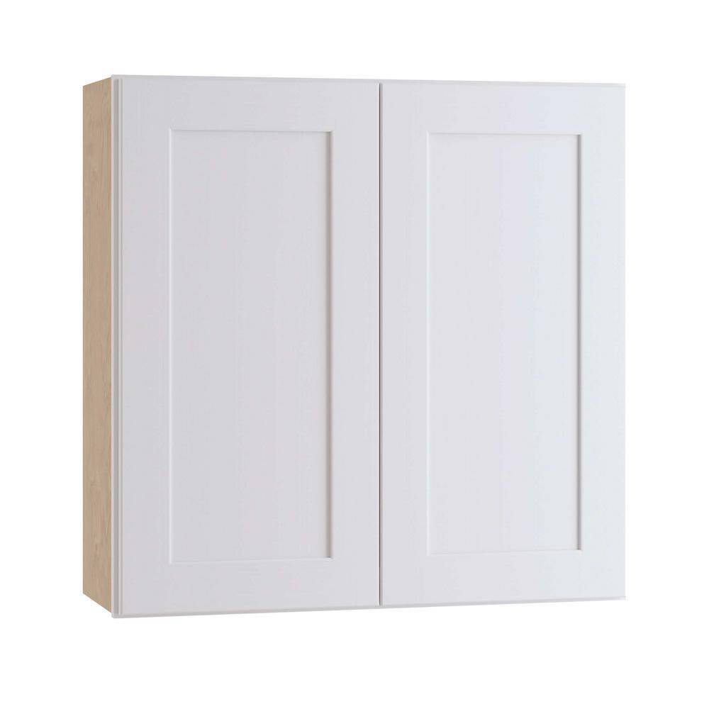 Home Decorators Collection Newport Assembled 27 x 30 x 12 in. Plywood Shaker Wall Kitchen Cabinet Soft Close in Painted Pacific White, Pacific White Painted