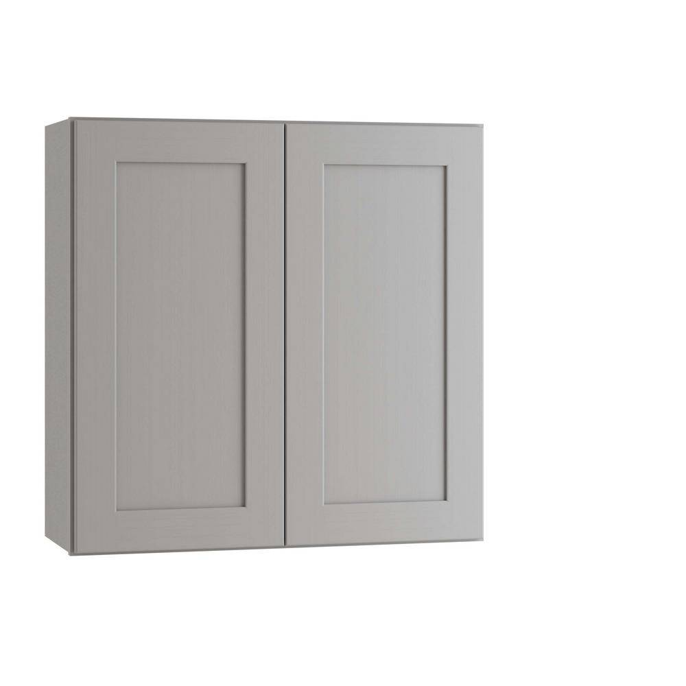 Home Decorators Collection Tremont Assembled 27 x 30 x 12 in. Plywood Shaker Wall Kitchen Cabinet Soft Close in Painted Pearl Gray, Gray Painted
