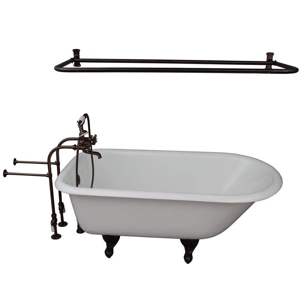 Barclay Products 5 ft. Cast Iron Ball and Claw Feet Roll Top Tub in White with Oil Rubbed Bronze Accessories