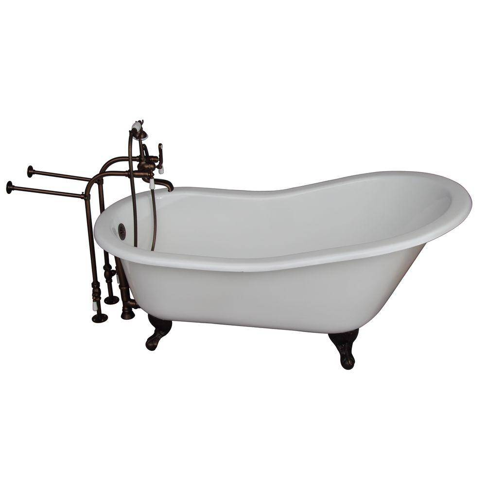 Barclay Products 5 ft. Cast Iron Ball and Claw Feet Slipper Tub in White with Oil Rubbed Bronze Accessories