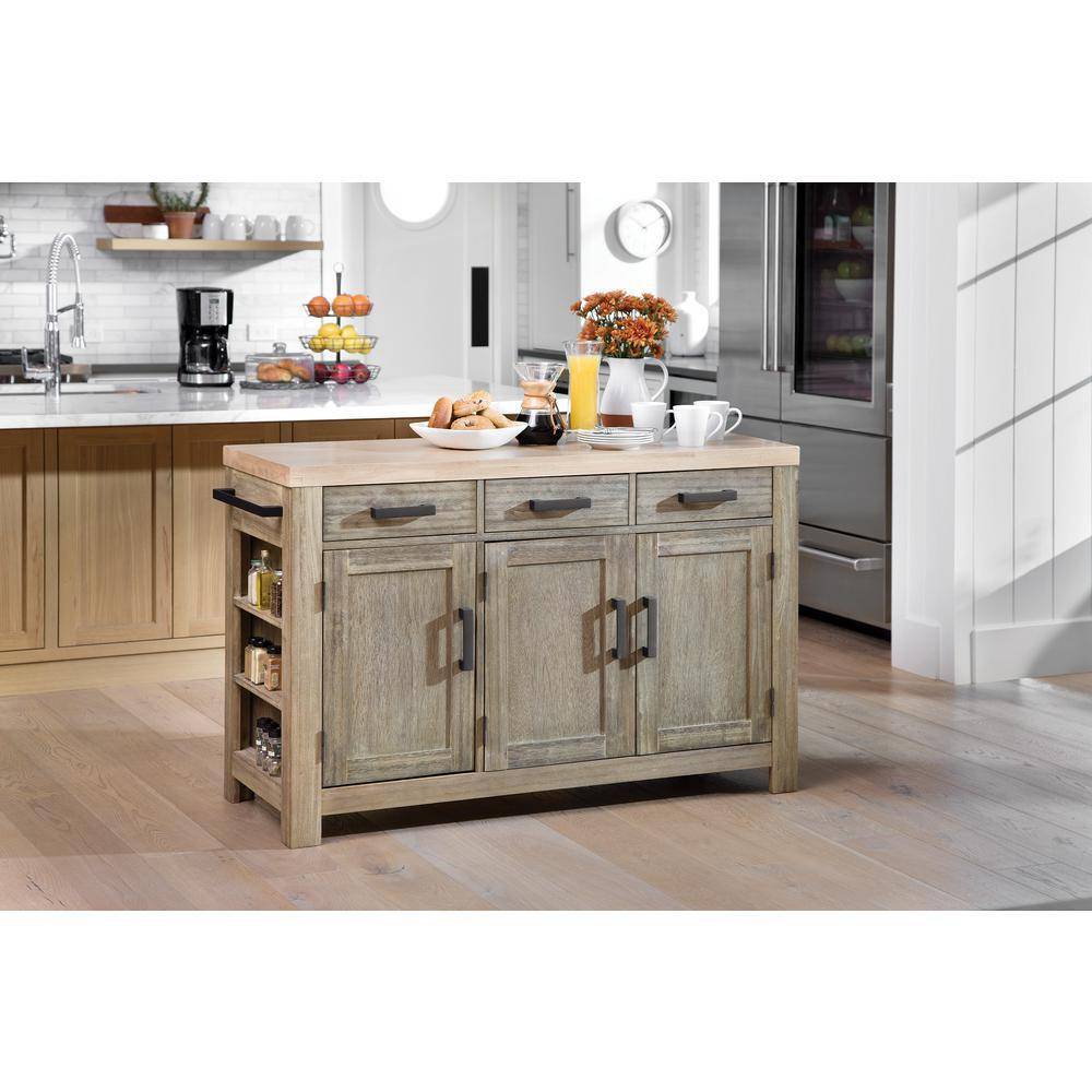 OSP Home Furnishings Cocina Kitchen Island Grey Wash with Wood Top and Frame, Gray Washed