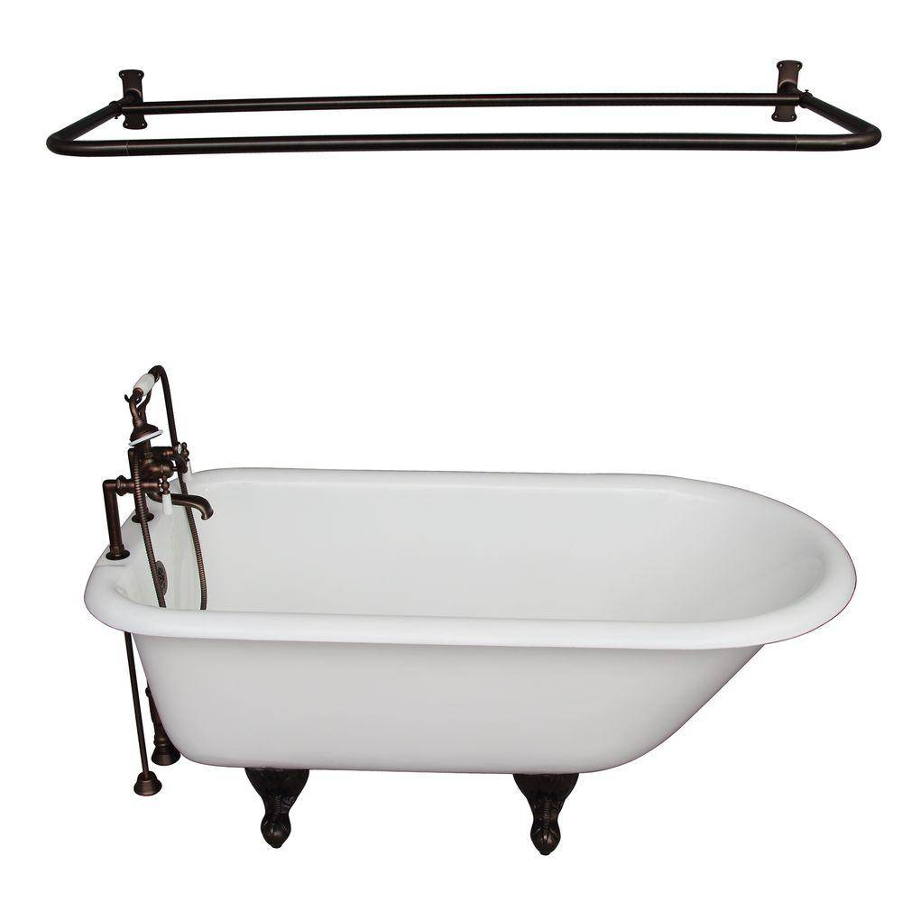 Barclay Products 5.6 ft. Cast Iron Roll Top Bathtub Kit in White with Oil Rubbed Bronze Accessories