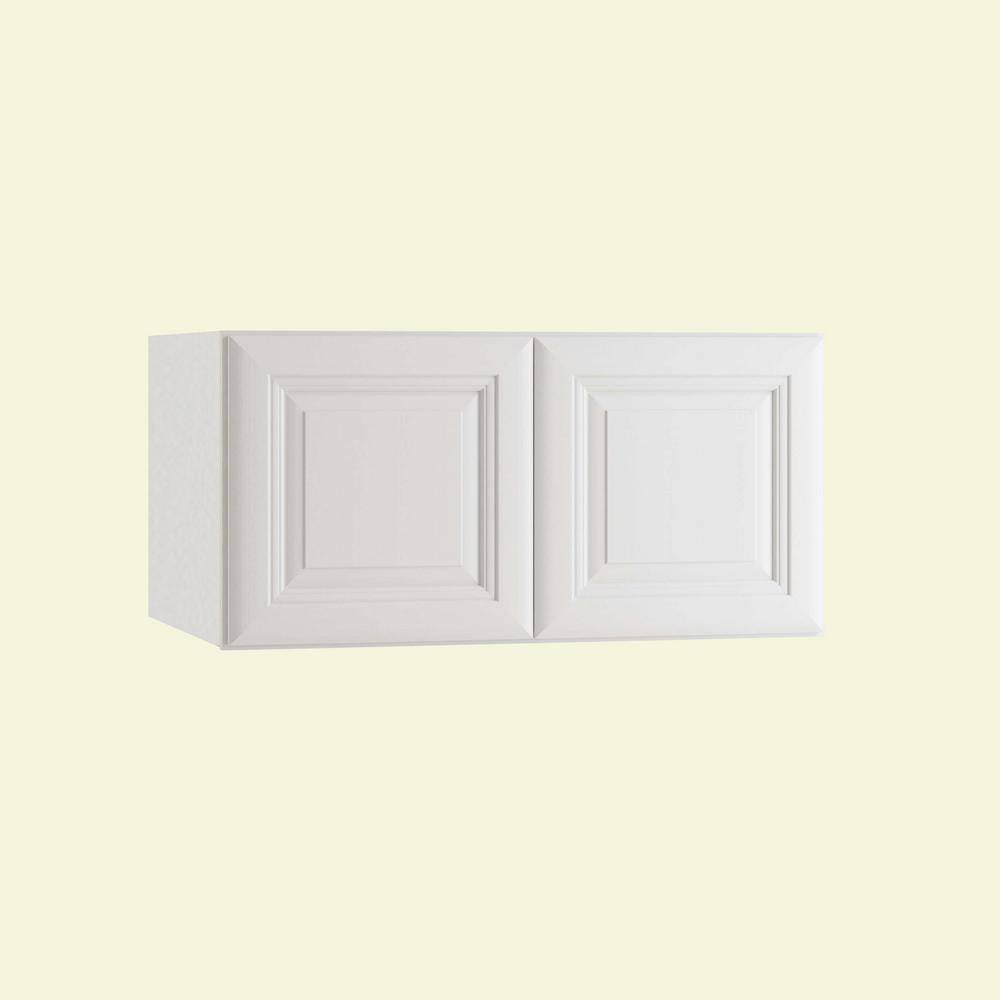 Home Decorators Collection Brookfield Assembled 30 x 15 x 24 in. Plywood Mitered Deep Wall Kitchen Cabinet Soft Close in Painted Pacific White