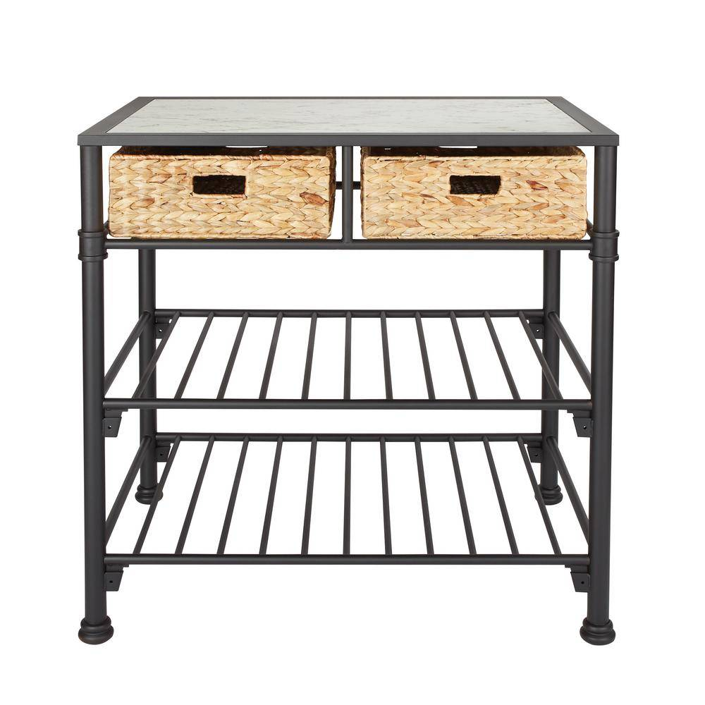 OSP Home Furnishings Alice Kitchen Island with Faux White Marble Top and Black Frame with Natural Woven Baskets, No Tools, White/Black