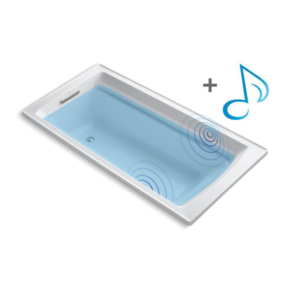 KOHLER Archer 6 ft. Acrylic Rectangular Drop-in Non-Whirlpool Bathtub in White with Wireless Music Kit
