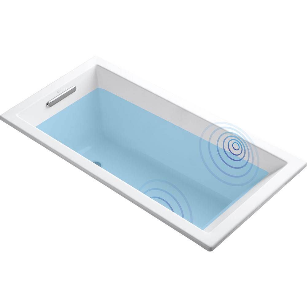 KOHLER Underscore 5 ft. Acrylic Rectangular Drop-in Non-Whirlpool Bathtub in White with Wireless Music Kit