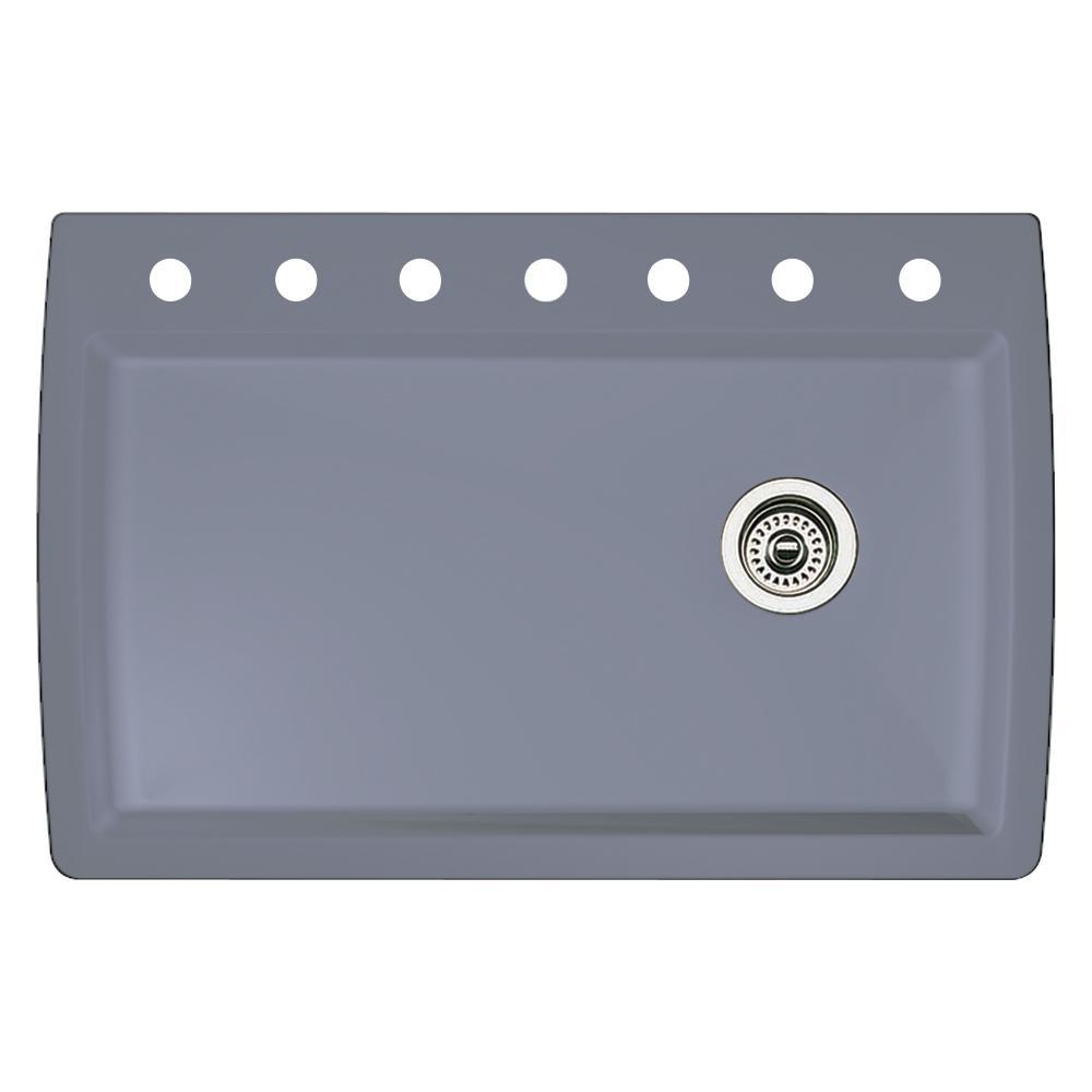 Blanco Diamond Dual-Mount Granite 33.5 in. 7-Hole Single Bowl Kitchen Sink in Metallic Gray
