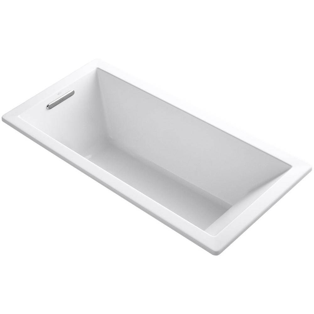 KOHLER Underscore 5.5 ft. Acrylic Rectangular Drop-in Non-Whirlpool Bathtub in White with Wireless Music Kit