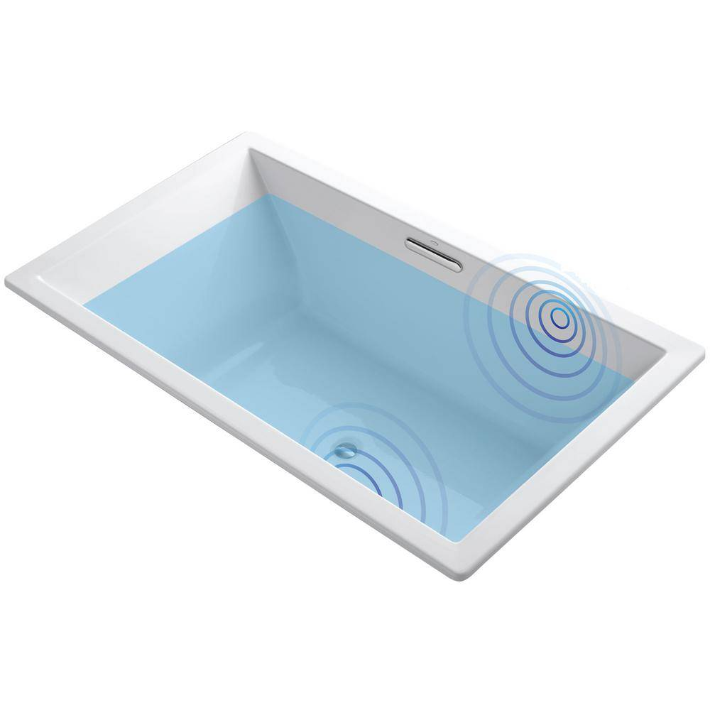 KOHLER Underscore 6 ft. Acrylic Rectangular Drop-in Non-Whirlpool Bathtub in White with Wireless Music Kit