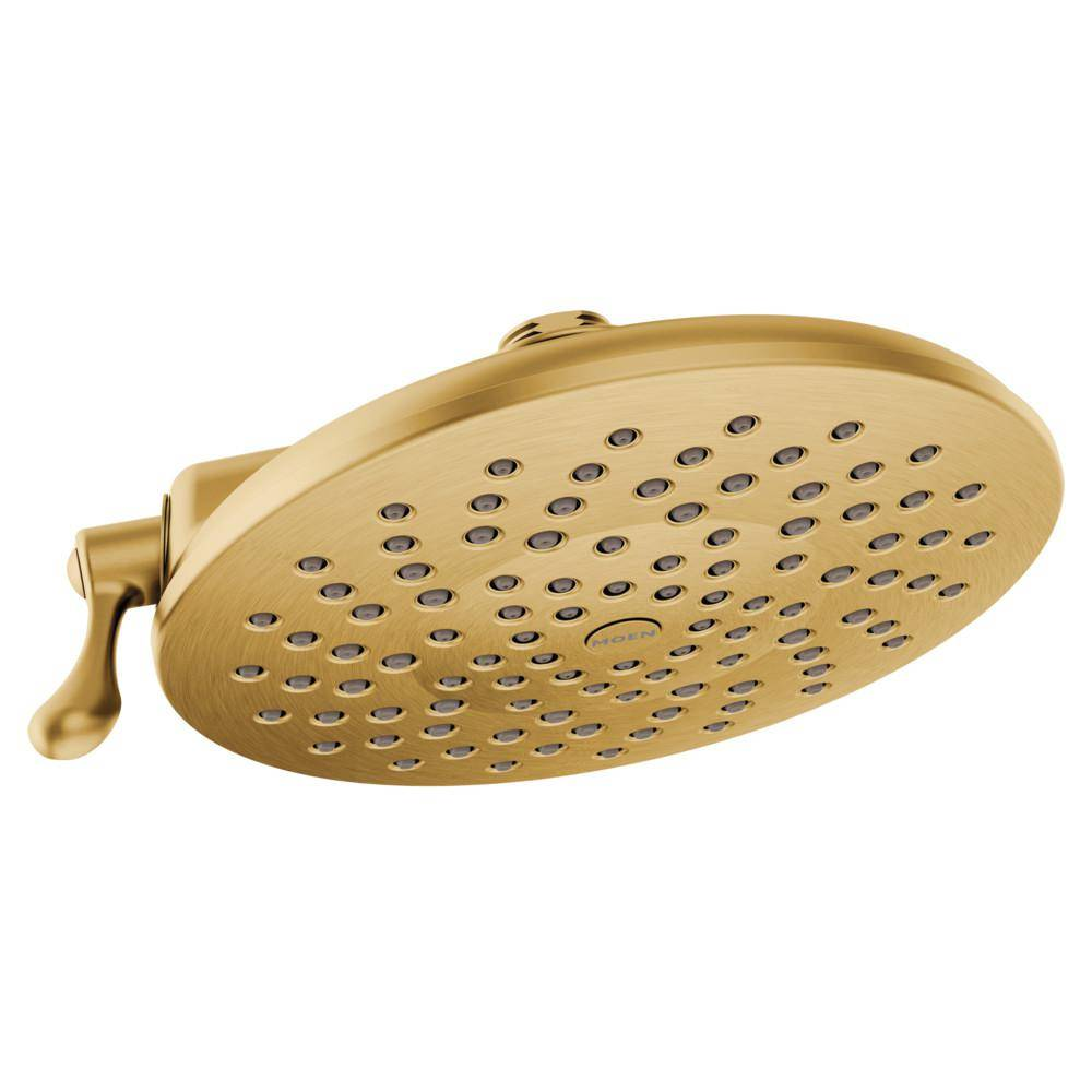 MOEN Velocity 2-Spray 8 in. Single Wall Mount Fixed Adjustable Spray Shower Head in Brushed Gold