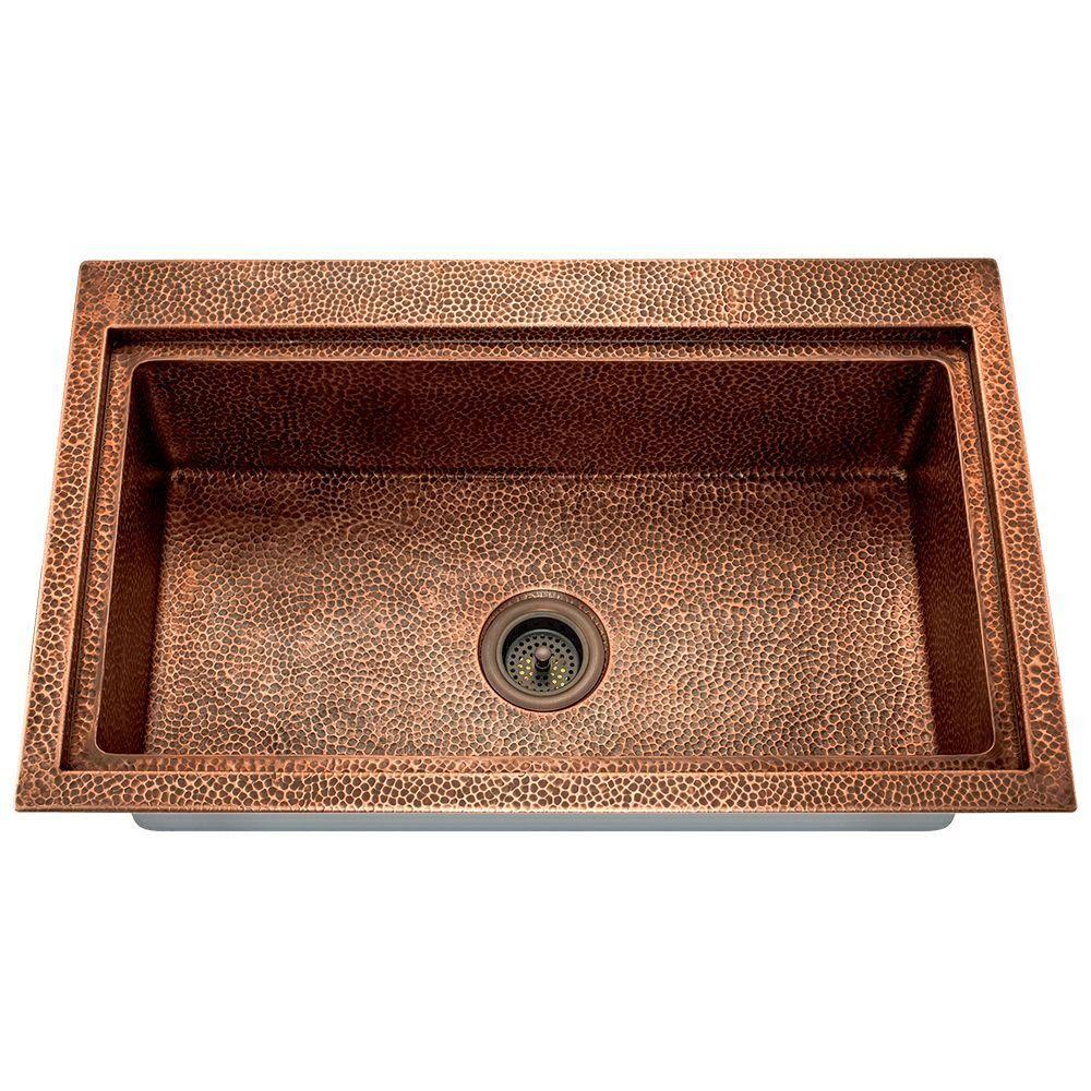 Polaris Sinks Dualmount Copper 32 in. Single Bowl Kitchen Sink, Brown