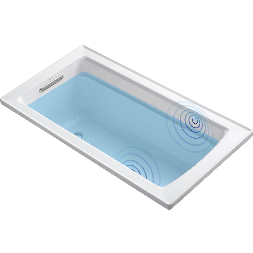KOHLER Archer 5 ft. Acrylic Rectangular Drop-in Non-Whirlpool Bathtub in White with Wireless Music Kit