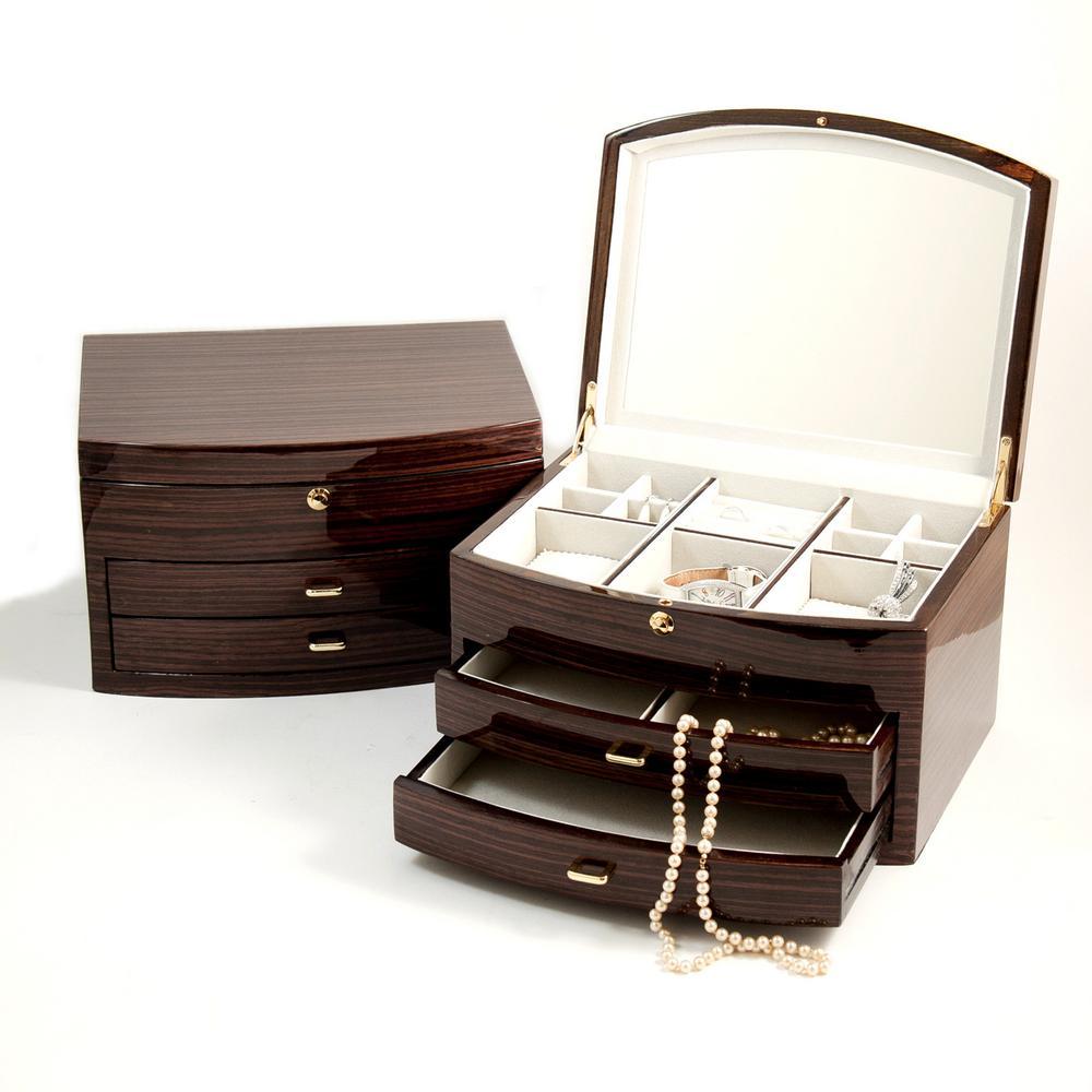 "BEY-BERK Lacquered Ebony ""Zebra"" Wood Jewelry Box, Ebony Zebra Wood"