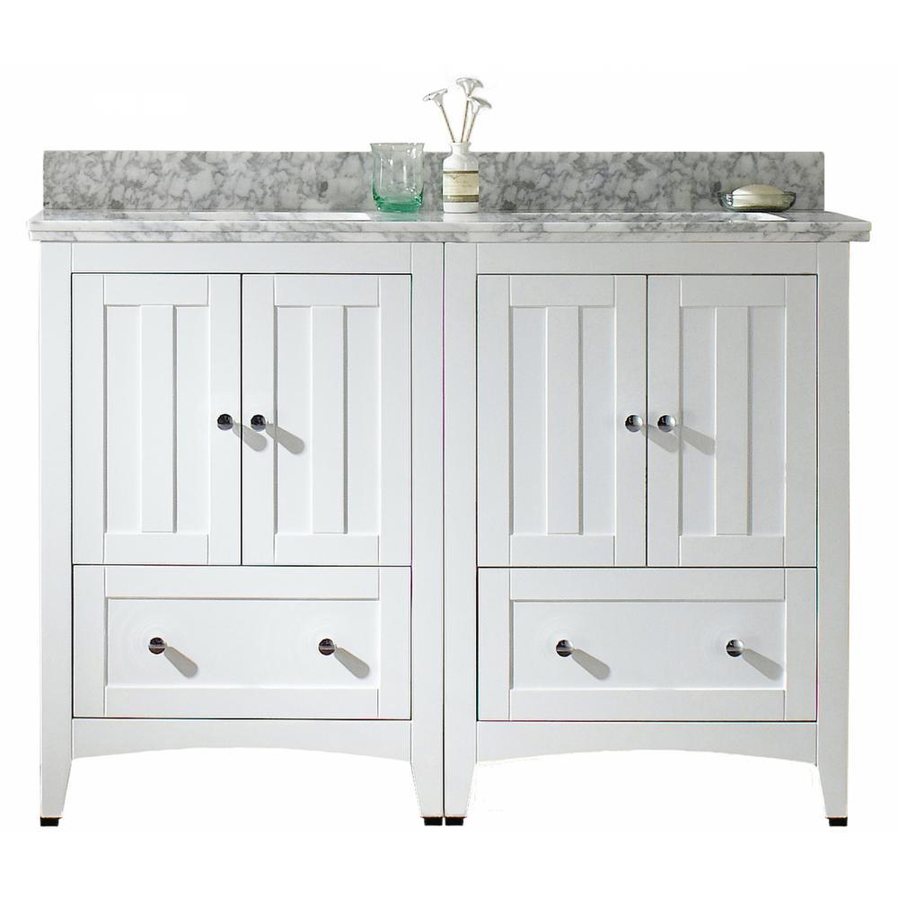 16 GAUGE SINKS 16-Gauge-Sinks 47.5 in. W x 18.25 in. D Bath Vanity in White with Stone Vanity Top in Bianca Carara with White Basin
