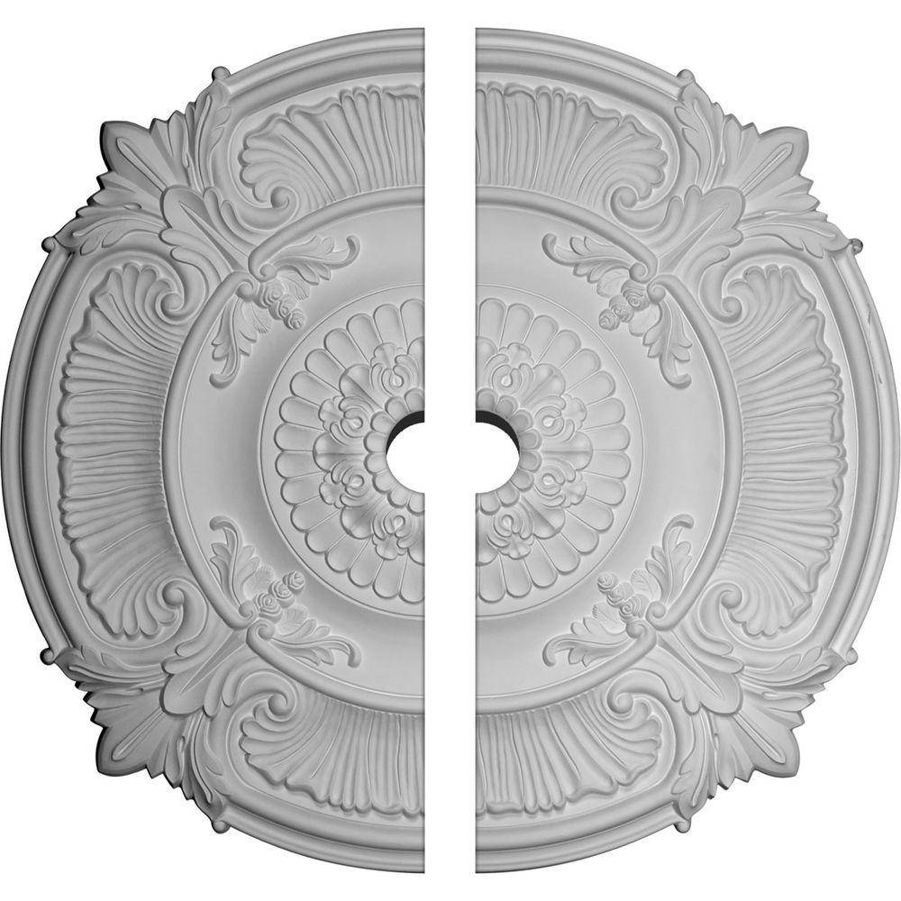 Ekena Millwork 53-1/2 in. x 5 in. x 3-1/2 in. Attica Acanthus Leaf Urethane Ceiling Medallion, 2-Piece (Fits Canopies up to 5 in.)