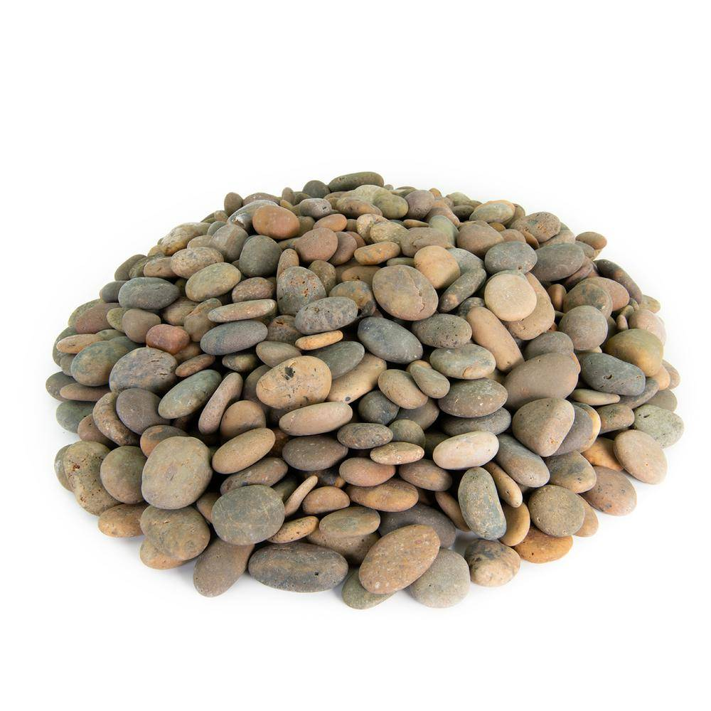 Southwest Boulder & Stone 21.6 cu. ft., 1/2 in. to 1 in. 2000 lbs. Buff Buttons Mexican Beach Pebble Smooth Round Rock for Garden and Landscape