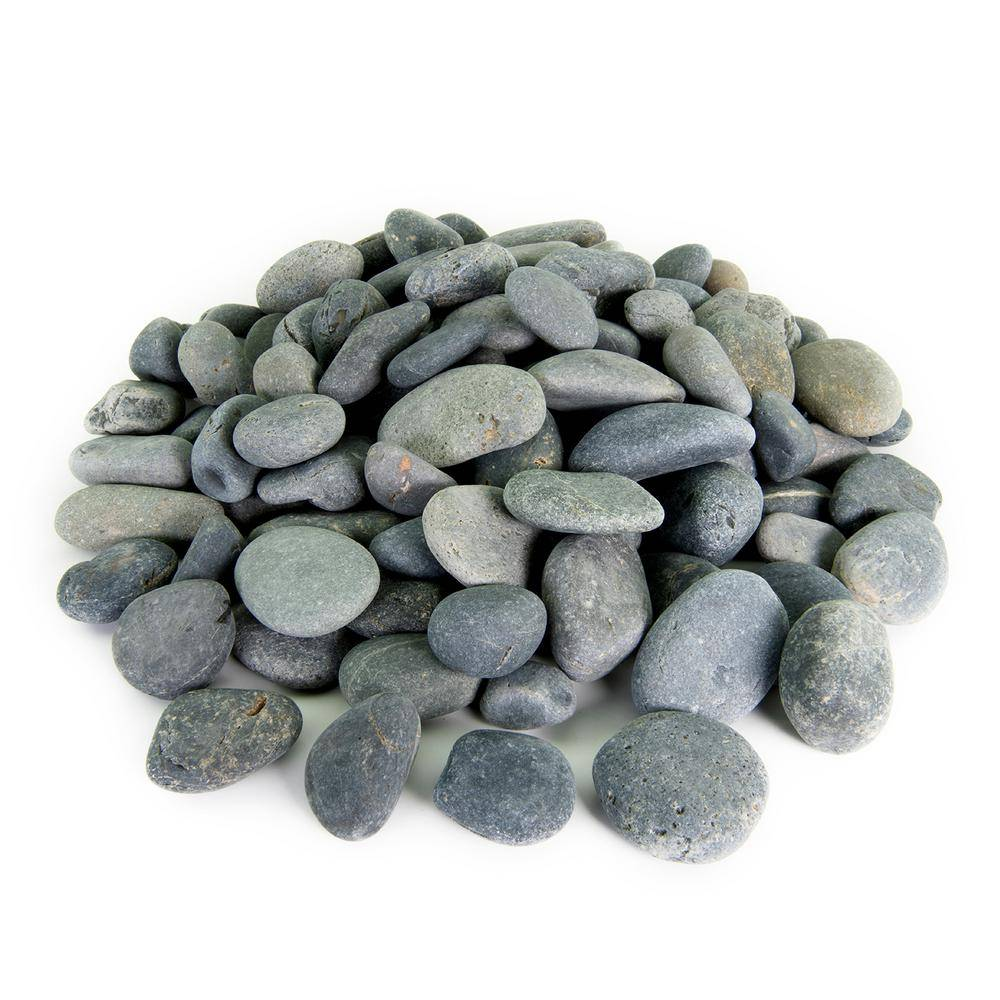 Southwest Boulder & Stone 21.6 cu. ft., 1 in. to 2 in. 2000 lbs. Black Mexican Beach Pebble Smooth Round Rock for Garden and Landscape Design