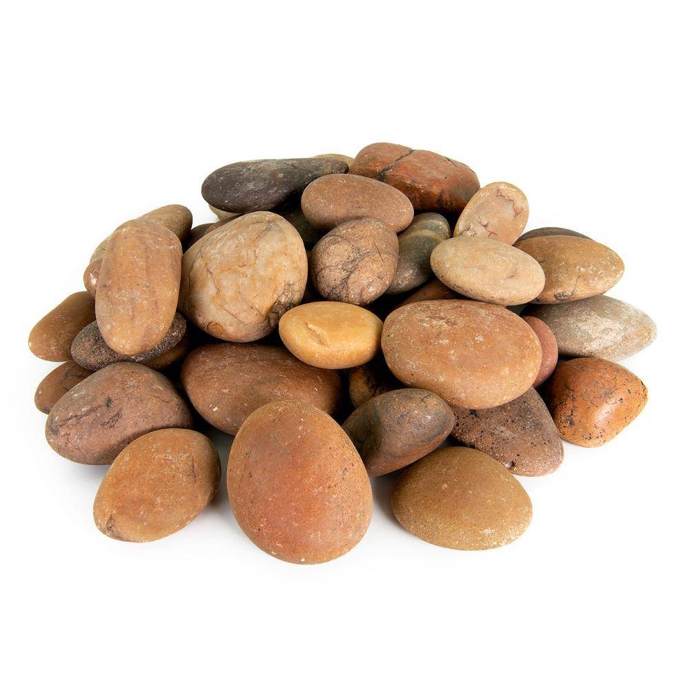 Southwest Boulder & Stone 21.6 cu. ft., 3 in. to 6 in. 2000 lbs. Sunburst Mexican Beach Pebble Smooth Round Rock for Garden and Landscape Design