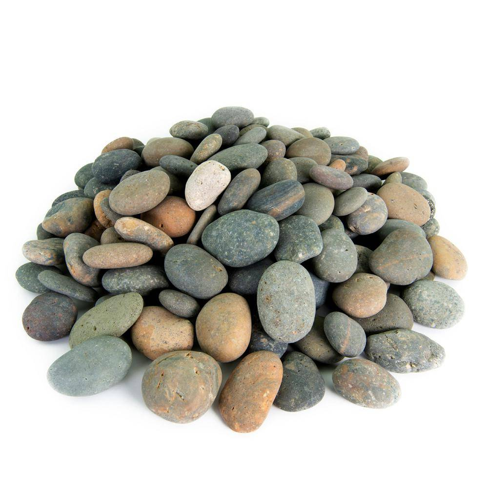 Southwest Boulder & Stone 21.6 cu. ft., 3 in. to 5 in. 2000 lbs. Mixed Mexican Beach Pebble Smooth Round Rock for Garden and Landscape Design