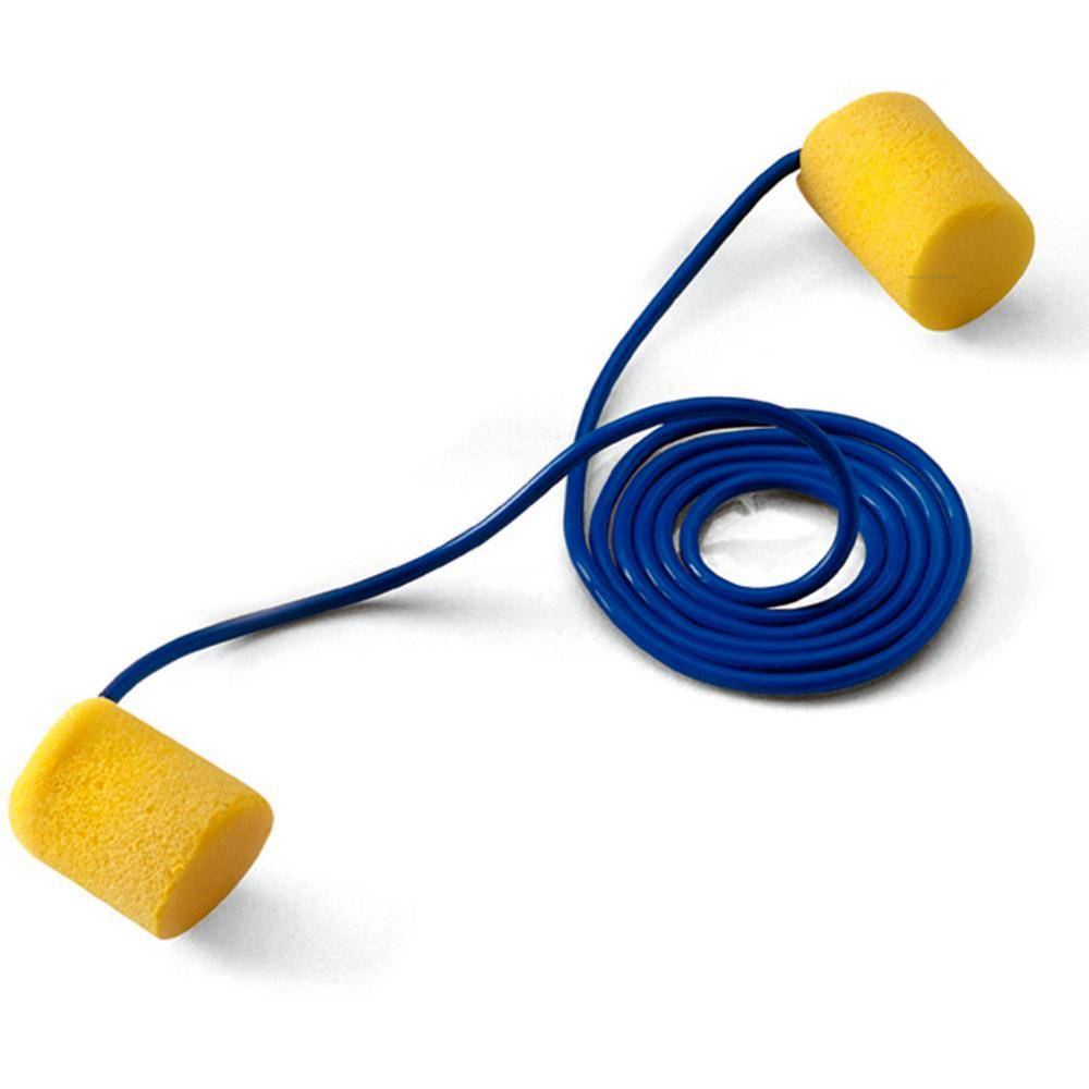 3M E-A-R Classic Yellow Foam Earplugs, Corded, Poly Bag - NRR 29 dB (Case of 2000-Pairs)