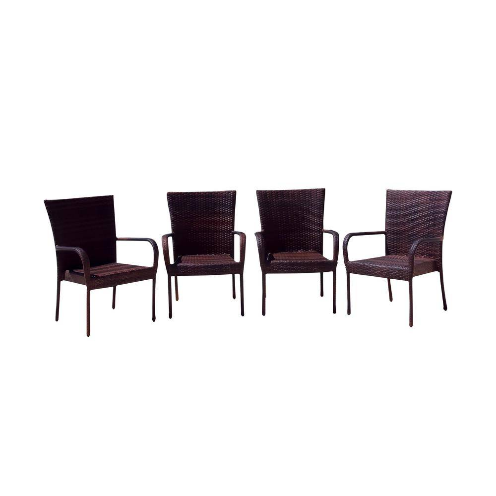 Noble House Victor Multi-Brown Stackable Wicker Outdoor Dining Chair (4-Pack)