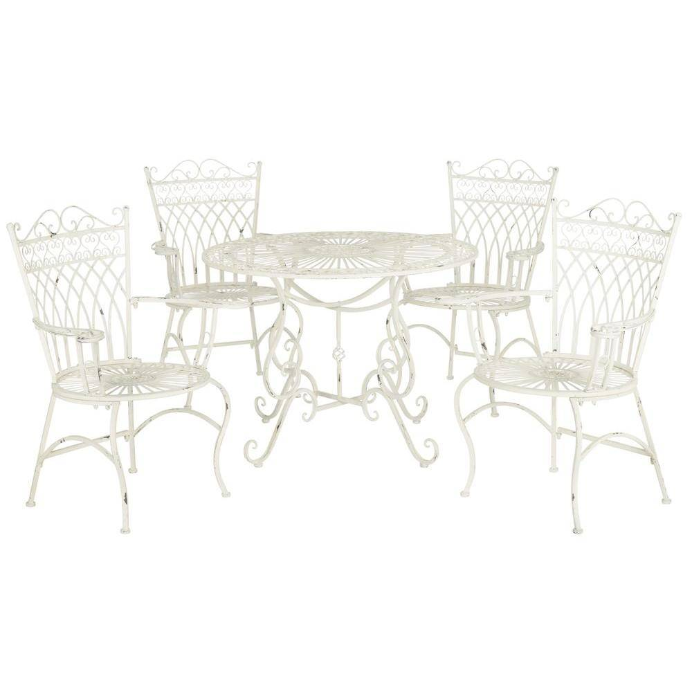 Safavieh Thessaly Antique White 5-Piece Metal Outdoor Dining Set