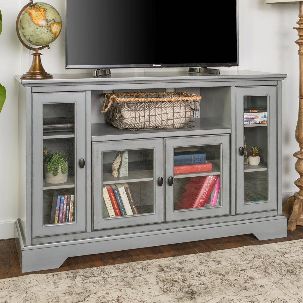 Walker Edison Furniture Company Highboy 52 in. Antique Gray Composite TV Stand 56 in. with Glass Doors, Antique Grey