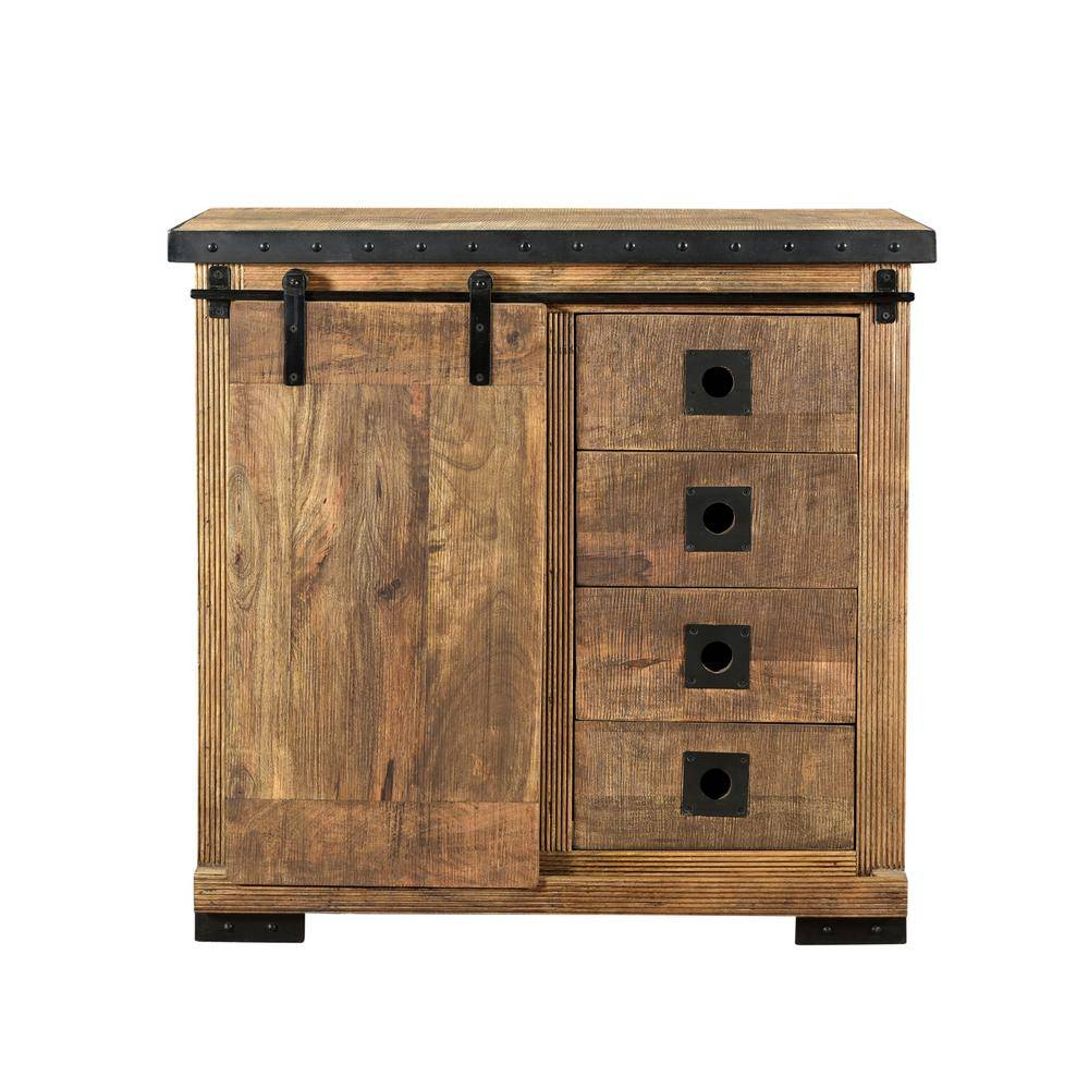 Noble House Bethune Natural Brown Cabinet with 4-Drawers, Black