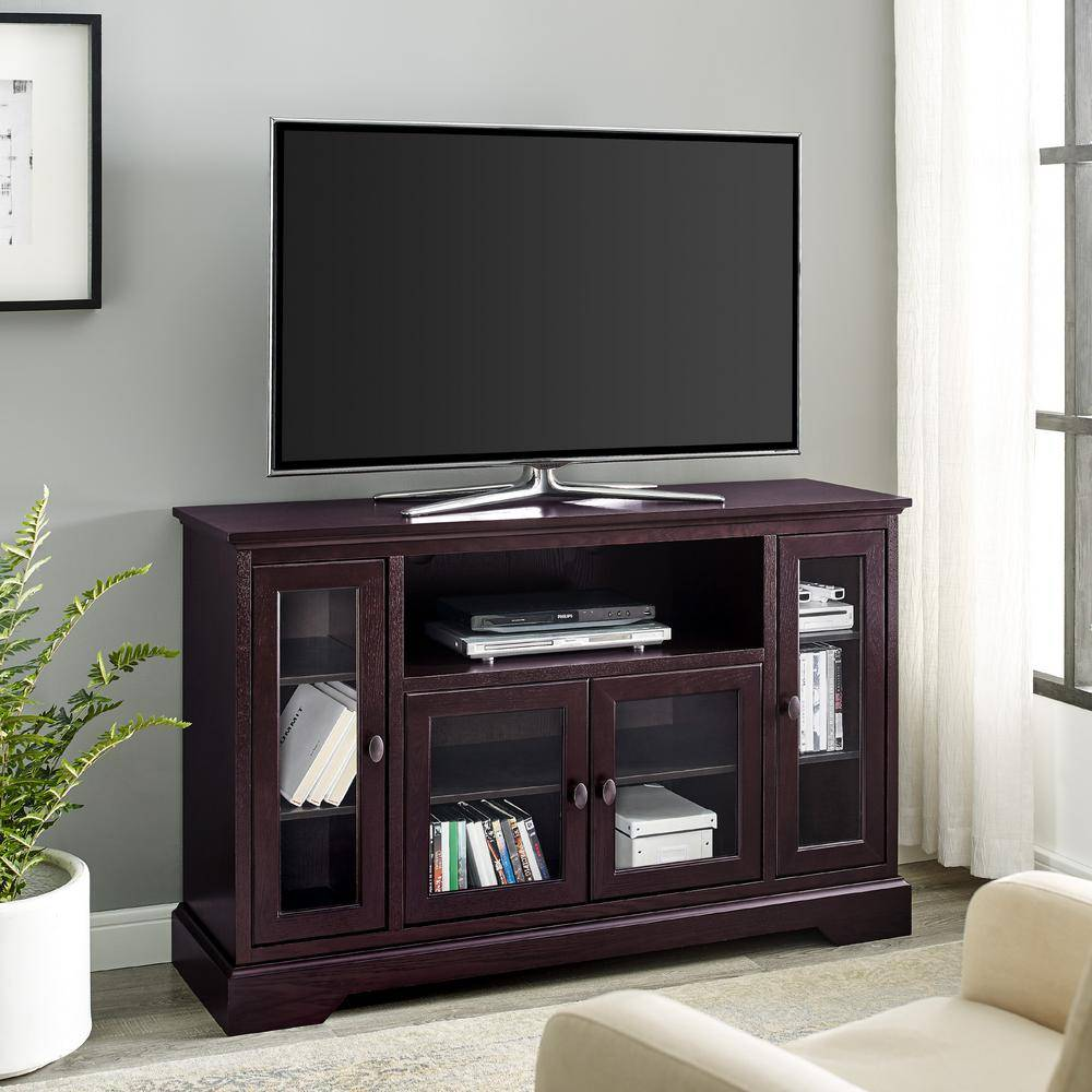 Walker Edison Furniture Company Highboy 52 in. Espresso Composite TV Stand 55 in. with Glass Doors, Brown