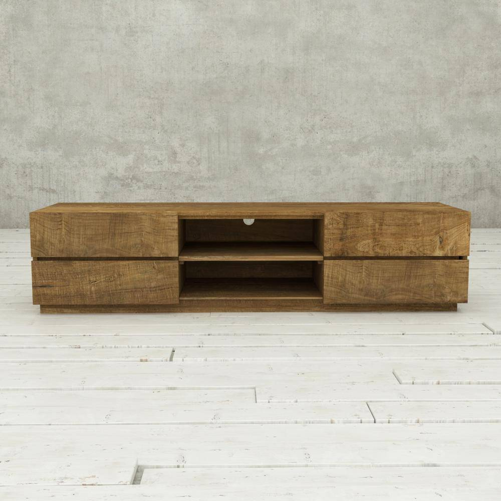 Urban Woodcraft Stallone 75 in. Natural Wood TV Stand Fits TVs Up to 75 in.