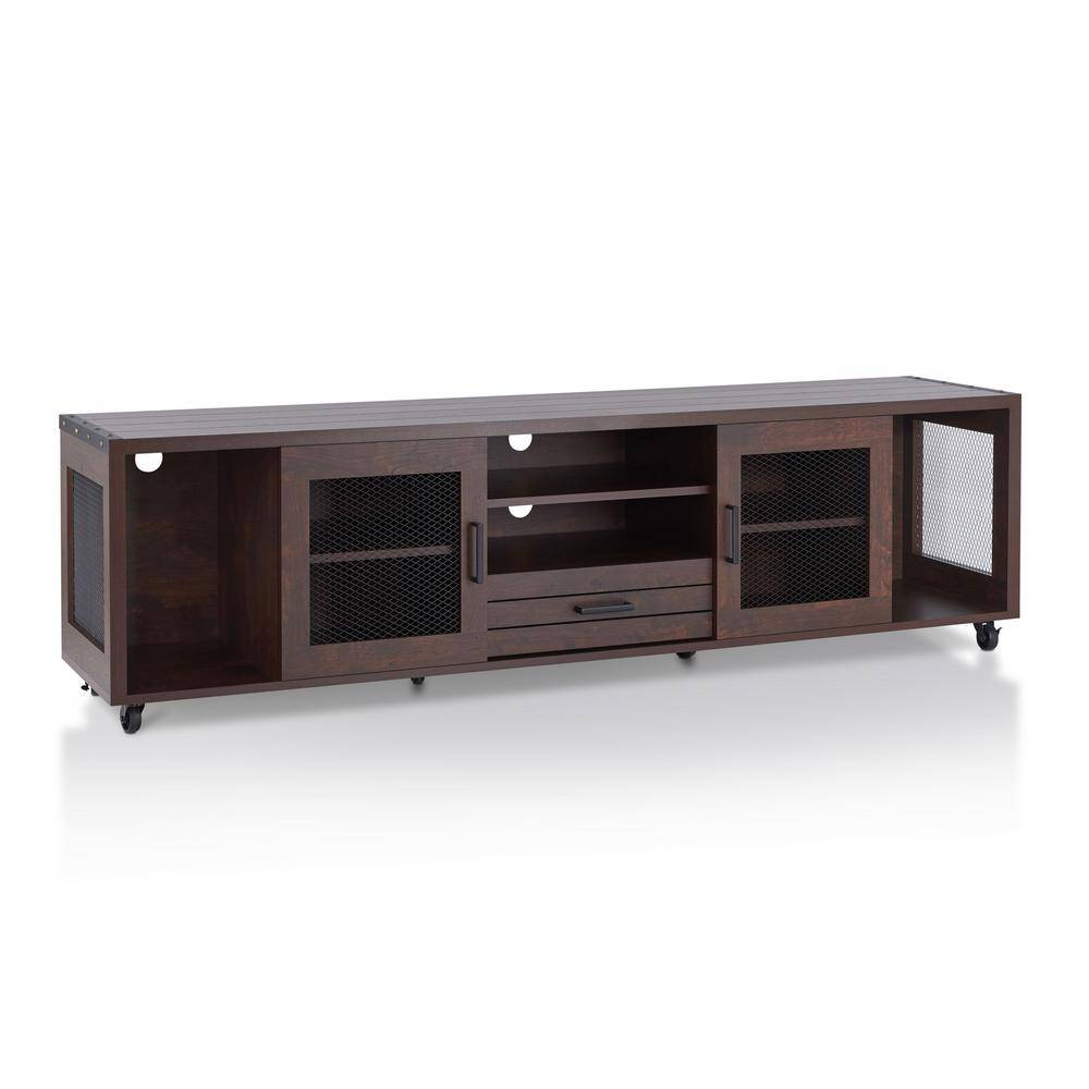 Furniture of America Coopern 71 in. Vintage Walnut Particle Board TV Stand with 1-Drawer Fits TVs Up to 80 in. with Storage Doors