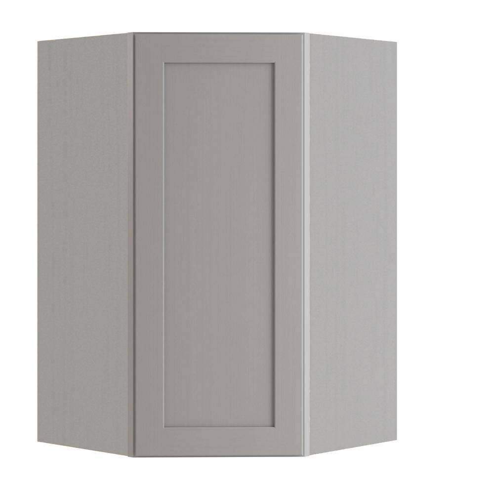 Home Decorators Collection Tremont Assembled 27x42x15 in. Plywood Shaker Wall Angle Corner Kitchen Cabinet Soft Close Left in Painted Pearl Gray, Gray Painted