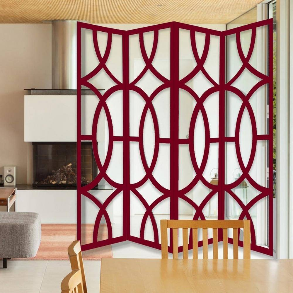 HomeRoots Mariana 84 in. 4-Panel Contemporay Red Wood Screen