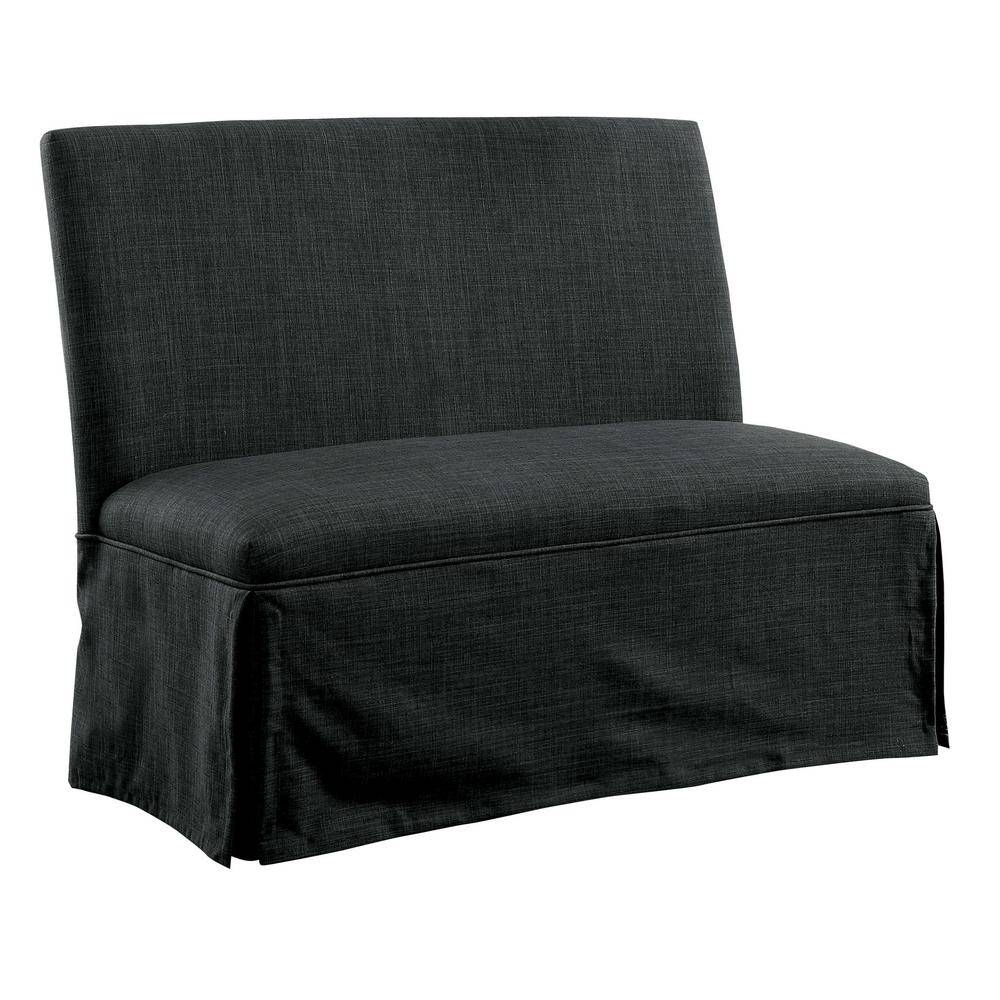 Furniture of America Cowan Dark Gray Upholstered Dining Love Seat