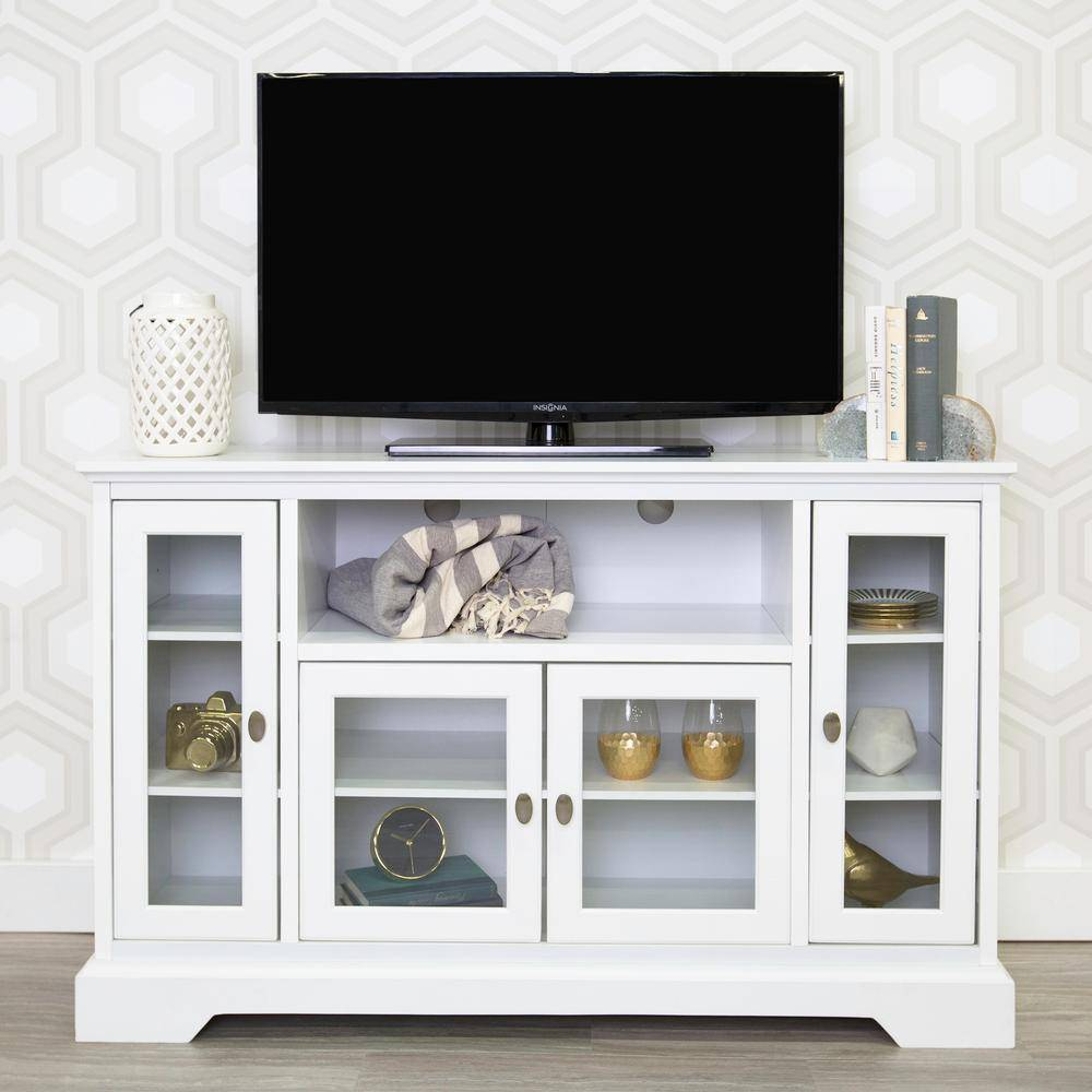 Walker Edison Furniture Company Highboy 52 in. White Composite TV Stand 55 in. with Glass Doors