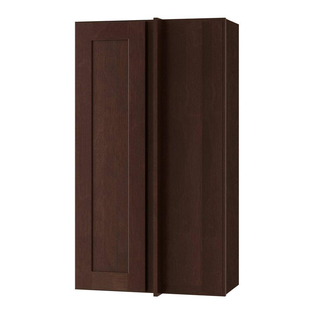 Home Decorators Collection Franklin Assembled 27x36x15 in. Plywood Shaker Wall Angle Corner Kitchen Cabinet Soft Close Right in Stained Manganite, Manganite Glaze