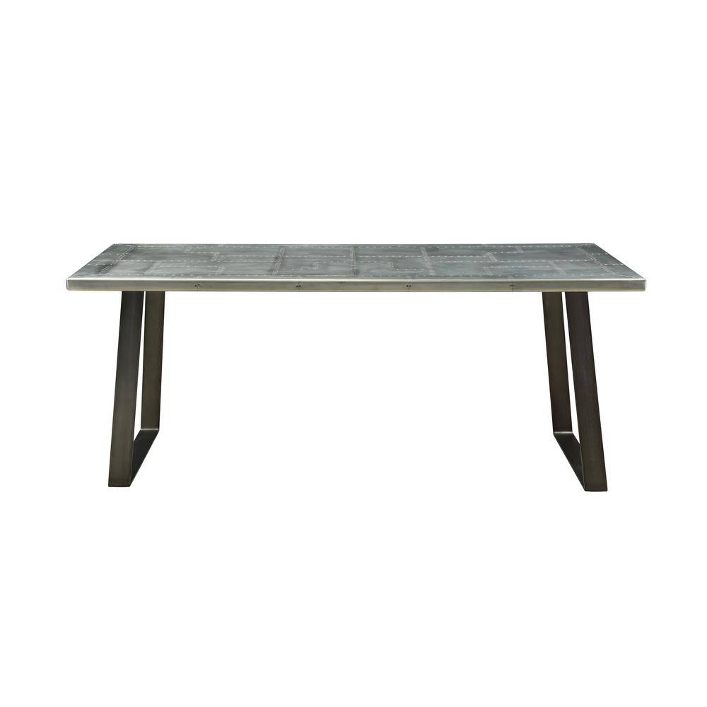 Acme Furniture Kaylia Aluminum and Gunmetal Dining Table, Silver/ Gunmetal