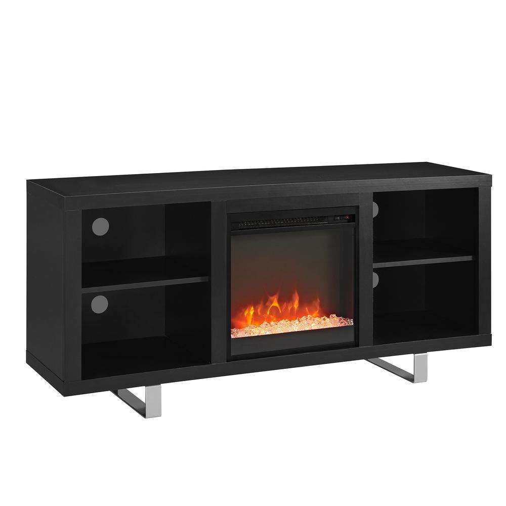 "Walker Edison Furniture Company 58"" Modern Electric Fireplace TV Stand - Black"