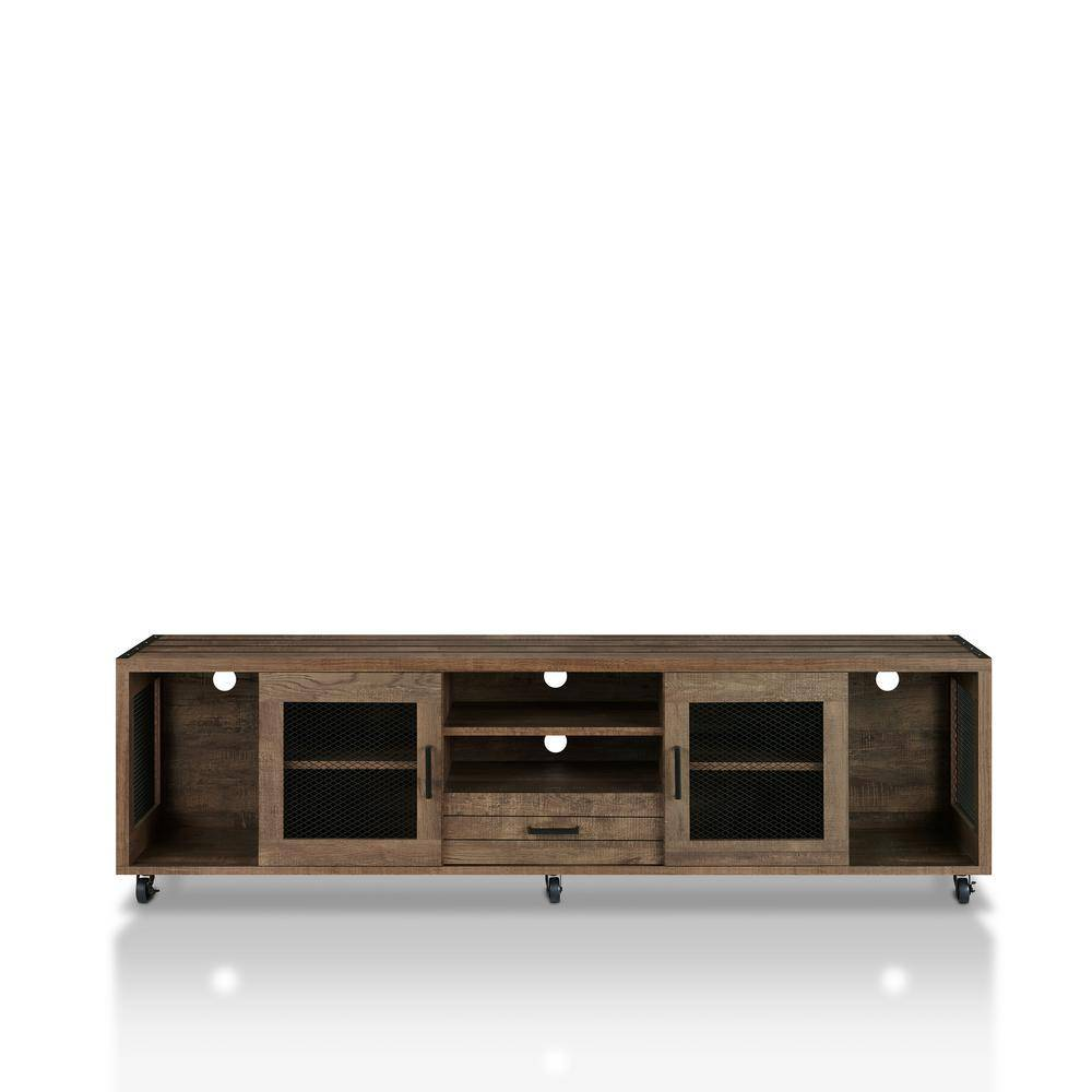 Furniture of America Coopern 71 in. Reclaimed Oak TV Stand Fits TVs Up to 80 in. with Storage