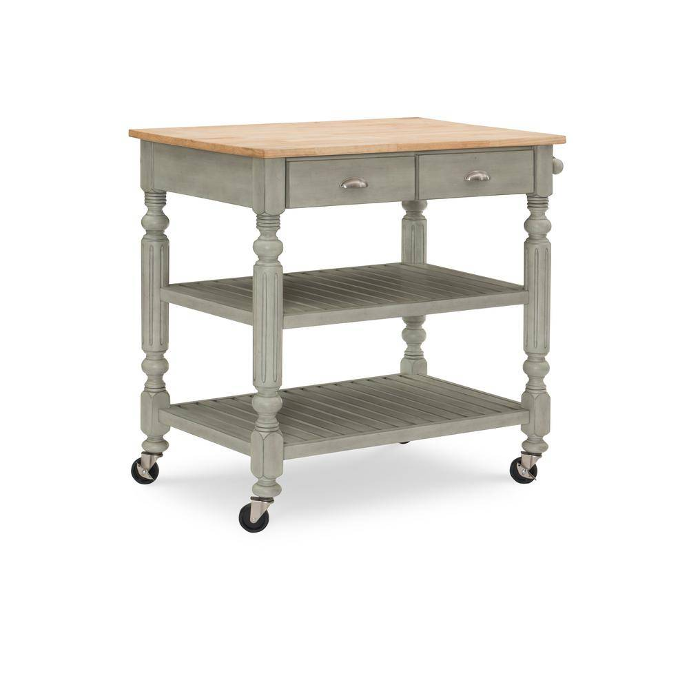 Linon Home Decor Linon Ash Janelle Kitchen Cart, Gray wash