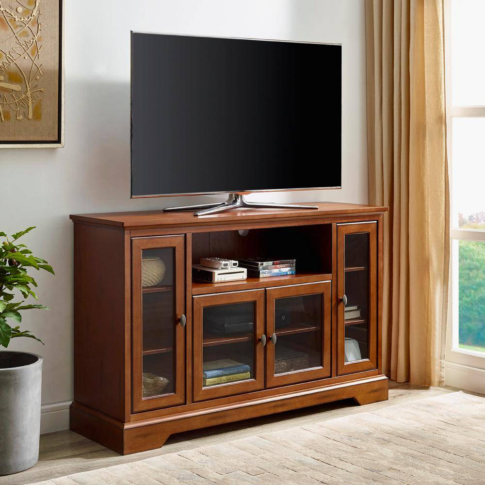 Walker Edison Furniture Company Highboy 52 in. Rustic Brown Composite TV Stand 55 in. with Glass Doors