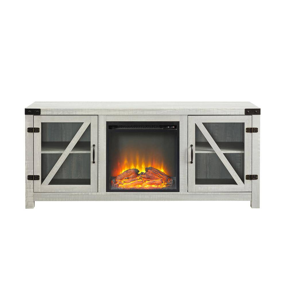 "Welwick Designs 58"" Glass Barn Door Composite Fireplace Console, Fits TVs up to 65 In. - Stone Grey, Stone Gray"