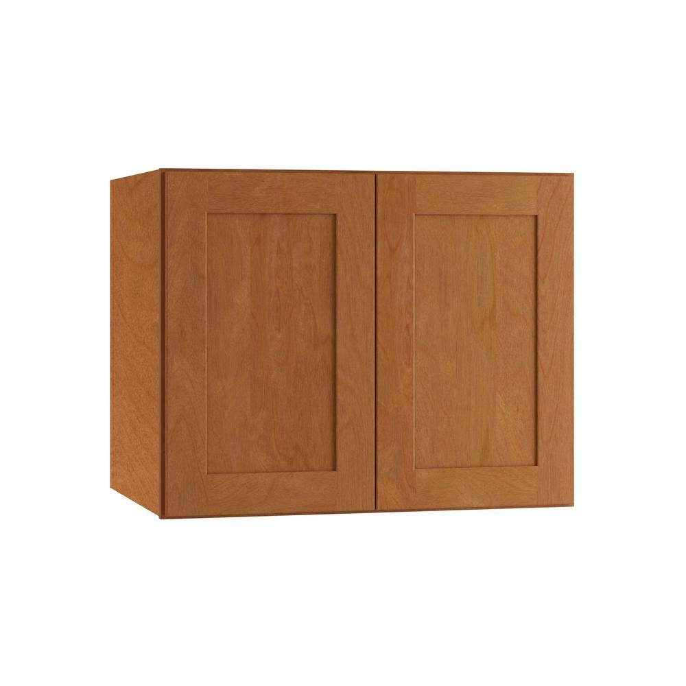 Home Decorators Collection Hargrove Assembled 30 x 24 x 24 in. Plywood Shaker Deep Wall Kitchen Cabinet Soft Close in Stained Cinnamon, Cinnamon Stain