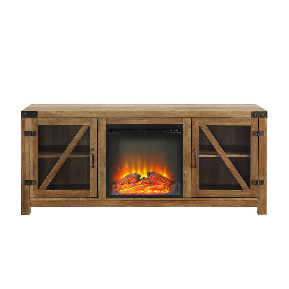 "Welwick Designs 58"" Glass Barn Door Composite Fireplace Console, Fits TVs up to 65 In. - Reclaimed Barnwood"