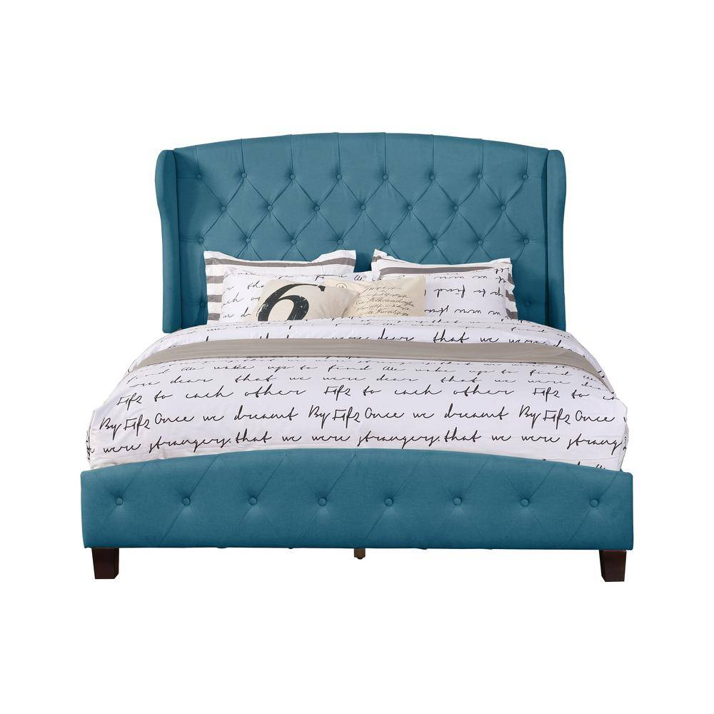 Nathaniel Home Blue Queen Size Upholstered Shelter Bed